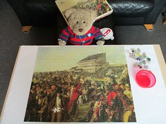 Whoops! Look where the missin' peece is! (pefkosmad) Tags: jigsaw puzzle hobby leisure pastime used secondhand missingpiece williampowellfrith detail derbyday painting art waddingtons vintage qualitex tategalleryseries tedricstudmuffin teddy ted bear animal toy cute cuddly plush fluffy soft stuffed
