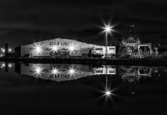 East Float, Wallasey Docks (gmorriswk) Tags: birkenhead england unitedkingdom gb wallasey docks east float clan line ship dock reflection reflections night industrial landscape seascape long exposure