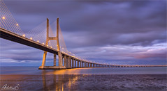 Vasco da Gama blue hour, Lisbon, Portugal (AdelheidS Photography) Tags: adelheidsphotography adelheidsmitt adelheidspictures portugal lisbon lisboa vascodagama bridge suspensionbridge tejo tajo river evening bluehour lowtide