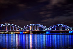 Iron Bridge, Riga (KadKarlis) Tags: iron bridge latvia riga night lights water daugava nikon d3000 city sky blue reflection outdoors