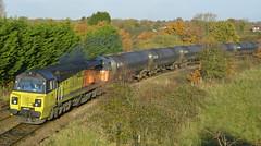 70802 (elr37418) Tags: colas railfreight yellow orange bituman tanks uk lancashire england preston autumn 70802