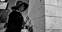 The corner (Baz 120) Tags: candid candidstreet candidportrait city contrast street streetphotography streetphoto streetcandid streetportrait strangers sony a7 rome roma europe women monochrome monotone mono noiretblanc bw blackandwhite urban life portrait people italy italia grittystreetphotography faces decisivemoment