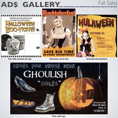 ads_01 (fillzees) Tags: ad advert advertisement copy fall autumn gallery archived newspaper tabloid shoe clippings quote pun words text typography pumpkin guitar woman eclectic halloween jackolantern dirndl boot holiday