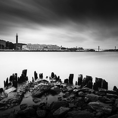 Masthugget (Mabry Campbell) Tags: europe goteborg gothenburg göteborg lindholmen masthugget scandinavia sweden västragötaland blackandwhite cityscape fineartphotography harbor longexposure mage old photo photograph photography pier pilings seascape squarecrop water f11 mabrycampbell may 2013 may252013 201305250h6a2391 24mm 2980sec 100 ef1740mmf4lusm fav10 fav20 fav30 fav40