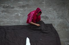 And She Sews (Pedestrian Photographer) Tags: roof rooftop blanket repair sew sewing girl woman samode haveli red jaipur india