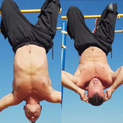 hanging ab crunch (ddman_70) Tags: shirtless pecs abs muscle workout outdoor calisthenics sweatpants