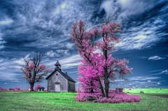 Old School House on the Prairie (Jon Dickson Photography) Tags: infrared ks kansas landscape schoolhouse tallgrass simply superb simplysuperb vividstriking aoi elitegalleryaoi bestcapturesaoi