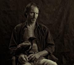 Man with crow (gormjarl) Tags: portrett man bird crow
