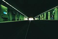 Underground (homesickATLien) Tags: 35mm film art kodak analog expired mjuiii olympus melbourne victoria australia noir train station underground neon public transport