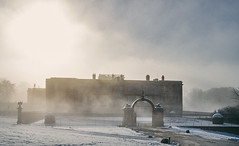 Lyme Hall (graemes83) Tags: snow winter cold sunny foggy mist lyme park national trust cheshire building hall