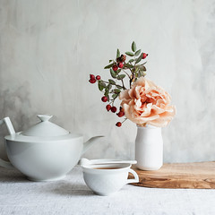 October tea & flowers (c_colli) Tags: stilllife bright airy autumn fall rose pink rosehip tea teapot seasonal calm