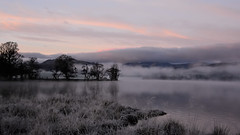 A very chilly start of the day (moniquerebanks) Tags: mist sunrise landscape chilly cold morning dawn ullswater lake reflections meer see landschap landschaft merengebied cumbria lakedistrict worldheritage hills heuvels trees grass frost nikond7100 clouds pinkclouds 169 uk countryside countryliving lakelanders lakeland atmosphere sfeervol sfeerbeeld unesco