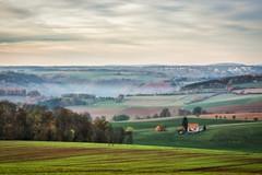 The fog rises (Claudia G. Kukulka) Tags: fog nebel november hills hügel sky himmel house haus farm bauernhof fields felder landscape landschaft painterly schafhof bronnbach