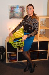 Laundry Day (Rikky_Satin) Tags: silk satin blouse tight pencil skirt pantyhose nylons highheels pumps crossdresser transgender tgirl tgurl gurl sissy secretary housewife transformation impersonation