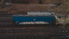 WHIMS - PEAL (◀︎Electric Funeral▶︎) Tags: omaha midwest councilbluffs nebraska lincoln fremont desmoines kansascity kansas missouri iowa graff graffiti paint aerosol art freight train traincar freighttraingraffiti railway railroad railcar benching benched freighttrain rollingstock fr8train fr8heaven mavicair drone freightsfromabove whims peal hopper digital photography