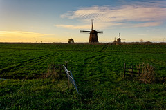 An Open Fence Is A Happy Fence (Alfred Grupstra) Tags: mill fence pasture sunshine green clouds windmill nature netherlands ruralscene agriculture kinderdijk sky field landscape windturbine farm sunset dutchculture europe wind blue grass summer environment industry 941