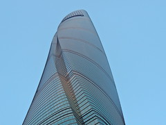 Shanghai Tower spiraling modern architecture against blue sky (Germán Vogel) Tags: sustainability sustainablearchitecture bluesky blue spiraling shanghaitower architecture modernarchitecture modern building asia eastasia china travel traveldestinations tourism touristattractions landmark holidaydestination famousplace chineseculture lookingup tall shanghai