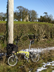 A photgraph Stop (cycle.nut66) Tags: dinton castle folly brompton bike bicycle cycle velo fiets rower telegraph pole stopped photograph celar winter sunshine sunny day hedgerow olympus e510 evolt zuiko