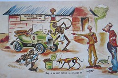Vintage comic postcard from Taylor's Store in Kulgera, Northern Territory - circa 1940s (Aussie~mobs) Tags: lenbeadell artwork postcard vintage northernterritory comic kulgera funny humorous amusing adelaidenoreentaylor store shop taylor garage automobile car service aborigine