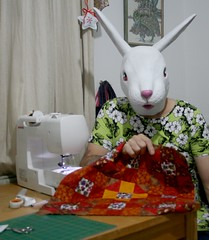3 - 365 moda blockhead (horsesqueezing) Tags: 365 rabbitmask bunny sewing quilting modablockheadchallenge