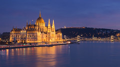 Budapest at blue hour (BenedekM) Tags: hungary hungarian parliament sky clouds skyporn cloudy river danube nikond3200 nikkor50mmf18 50mm nikon d3200 longexposure architecture buildings bridge citadella city cityscape panorama landscape view