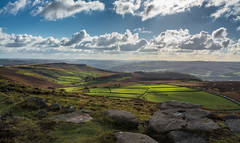 Stanage View Autumn... (johngregory250666) Tags: rural nature british countryside camera lens green yellow orange stone nikon nikkor hiking walking lines clouds sky blue moss lichen out brook glow grass imagesofengland amazing sunlight water light sun outdoor grassland field landscape hill trees plant serene ridge great national park mountain moor moorland dale new d5200 rock formation rays edge heather tor world pass outside cloud temperature view peak district long england north overcast path flickr bright road tree