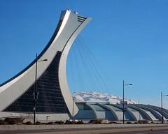 Olympic Stadium, Montreal (Howard Sandler (film photos)) Tags: olympicstadium montreal architecture roof zeiss superikonta folder 6x6 mediiumformat film portra