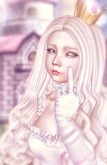 Your Princess is in another castle. (ZameNezrulain) Tags: zame peach mario secondlife sl avatar girl photo photography photoshop art edit mesh bento catwa limerence kiiko altair portrait people kawaii princess cute izzies virtual