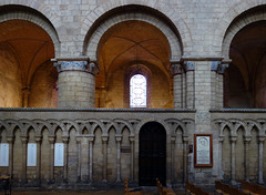 Romanesque arches above interlaced blind arcade, Ely Cathedral