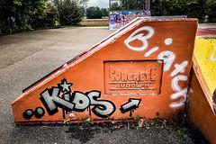 Concrete Rudolph (Melissa Maples) Tags: ludwigsburg deutschland germany europe apple iphone iphonex cameraphone summer skatepark graffiti streetart art orange biatch kids text