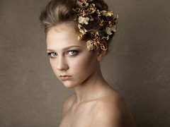 Beautiful young girl with orchid flowers in hair. Incredible sharpness with Phase One p45+ digital back (nikmerkulov) Tags: beauty portrait beautiful girl studio flowers orchids mediumformat phaseone p45 120mm attractive mamiya df deepocta