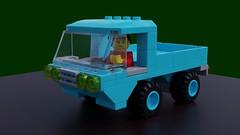 Pincergoer (David Roberts 01341) Tags: lego ldd mecabricks render 4x4 truck pickup vehicle town city minifigure blue