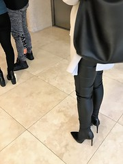 Breakfast in the hotel restaurant; waiting for a free table. (Rosina's Heels) Tags: leather pants high heel stiletto ankle boots