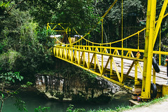 A Yellow Bridge (wuestenigel) Tags: water trees rock bridge yellow river nature brücke wasser wood holz noperson keineperson natur outdoors drausen summer sommer fluss travel reise landscape landschaft park footbridge steg suspension wooden hölzern tree baum environment umgebung grass gras transportationsystem transportsystem architecture diearchitektur color farbe