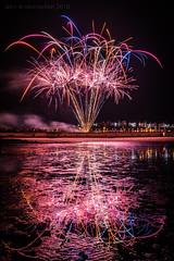 Burntisland Fireworks Display (ianrwmccracken) Tags: rocket night d750 nikon reflection lowlight town colour longexposure sand beach scotland water ripple burntisland shore fife bonfire pyrotechnic firework coast nikkor1635mmf4 guyfawkes