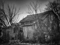 Barn on the side of the road (gmmech) Tags: wisconsin iphone monochrome barn