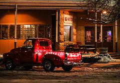 Holiday Truck at the Irma in Cody, Wyoming (wyojones) Tags: wyoming cody christmasparade christmas holidaygreetings chevy pickuptruck santastruck lights irmahotel buffalobillcody snow christmasseason wyojones np nationalregisterofhistoricplaces national historic place