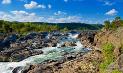 Great Falls, viewed from Maryland side (GSB Photography) Tags: greatfalls potomacriver maryland america usa river waterfall chute rapids sunlight water rush rocks trees foliage sky clouds flow vista overlook nikon d60 aplusphoto gsb