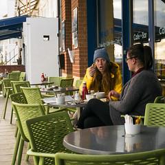Time for coffee  (3 of 3) (+Pattycake+) Tags: eastcoast offseason 10dec18 street winter candid winterseaside seaside coffee cafe yellow people window shop felixstowe lumixdmcgm1 mirrorless streetphotography town coastal