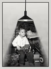Illuminated memories (MoparMadman63) Tags: blackandwhite framed abstract illusion christmas toys tree 1966 analogphotograph indoors