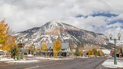 Crested Butte, Colorado, USA (Geraldine Curtis) Tags: snow gunnison colorado usa skiresort crestedbutte october fallcolours yellow gold firtrees mountain
