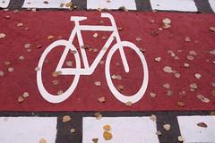 Berlin - Frankfurter Allee (tom-schulz) Tags: x100f urban berlin thomasschulz fahrradweg fahrrad zeichen herbst blätter