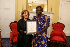 NOVA SCOTIA/NOUVELLE-ÉCOSSE: Award recipient/lauréate Samia Eldik, with/avec the Honorable/l'honorable Lena Metlege Diab, Minister of Acadian Affairs and Francophonie/ministre des Affaires Acadiennes et Francophonie