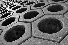 Nutty Sea Defences (Matt West) Tags: sea defences skegness concrete abstract hexagon nuts perspective vanishingpoint