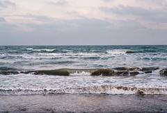(mari-ann curtis) Tags: 35mm film colour light shadow seaside eastbourne sea waves clouds horizon windy nostalgia memories