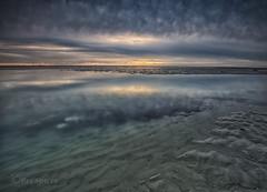 Low to the horizon (Through Bri`s Lens) Tags: sussex beachlowtide sand texture sea water horizon windfarm sky skies brianspicer canon5dmk3 canon1635f4 lee09softgrad