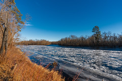 Icy Saint Croix River - St. Croix State Park, Minnesota (Tony Webster) Tags: december minnesota saintcroixriver saintcroixstatepark stcroixriver stcroixstatepark wisconsin autumn floatingice frozen hiking island river snow statepark trail trees winter