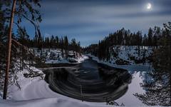 Winternight in River Kitkajoki (M.T.L Photography) Tags: kuusamo juuma riverkitkajoki mtlphotography panoramicphotography mikkoleinonencom river ice moonlight moon stars cold winter clouds trees snow cottage