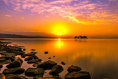 sunset 5005 (junjiaoyama) Tags: japan sunset sky light cloud weather landscape orange purple color lake island water nature winter reflection calm dusk serene rock sun