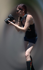Canon Shooter (Scott 97006) Tags: person photographer canon skirt shoot bokeh cute outfit parade gender focused shades